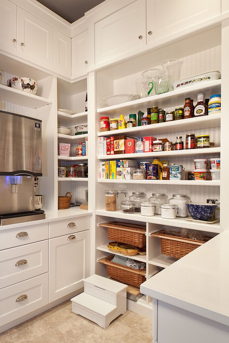 Extensive shelving transforms the small kitchen corner