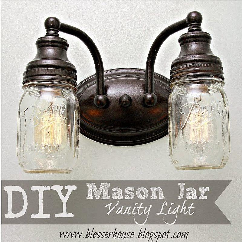 Fab DIY mason jar vanity lights with modern farmhouse vibe