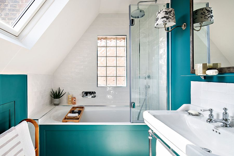 25 Cool Bathroom Color Trends For, White And Teal Bathroom