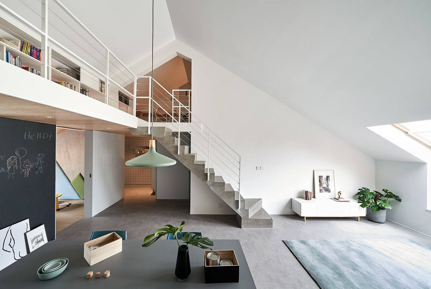 Fabulous and space-savvy Beijing apartment design with mezzanine level