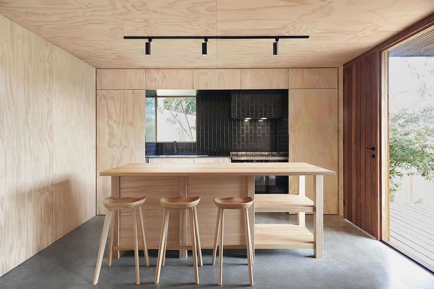 Fabulous little kitchen with polished concrete floor and plywood cabinets and walls