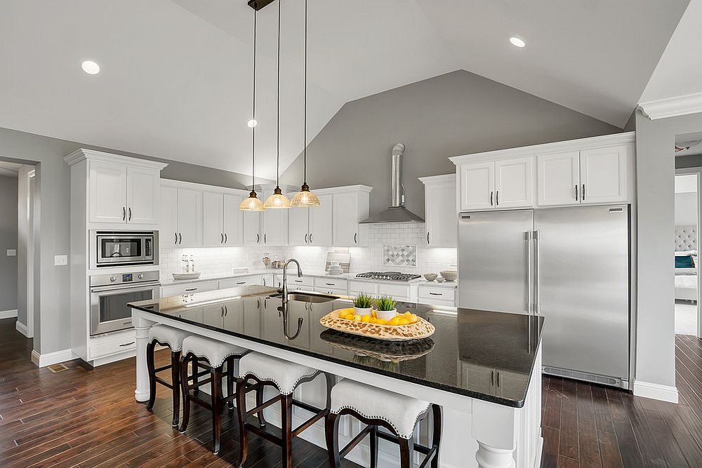Fabulous modern kitchen in white with gray sections that add panache