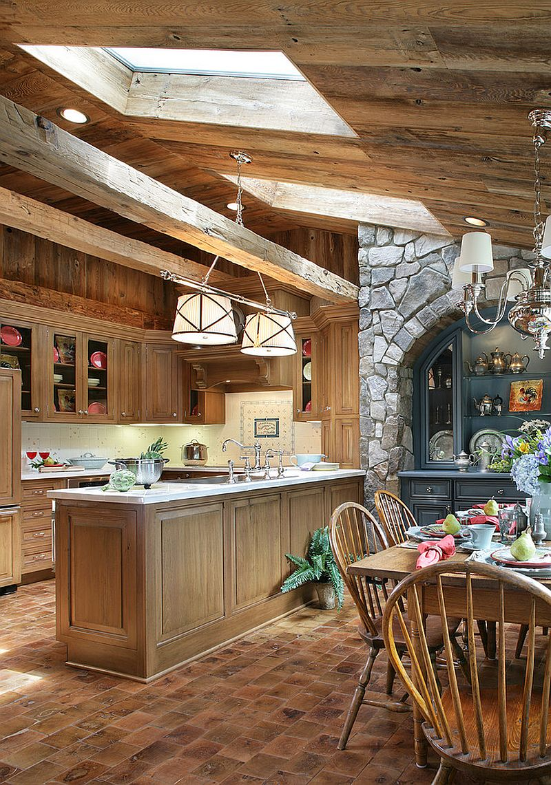 Fabulous rustic kitchen with skylights that add style and brightness