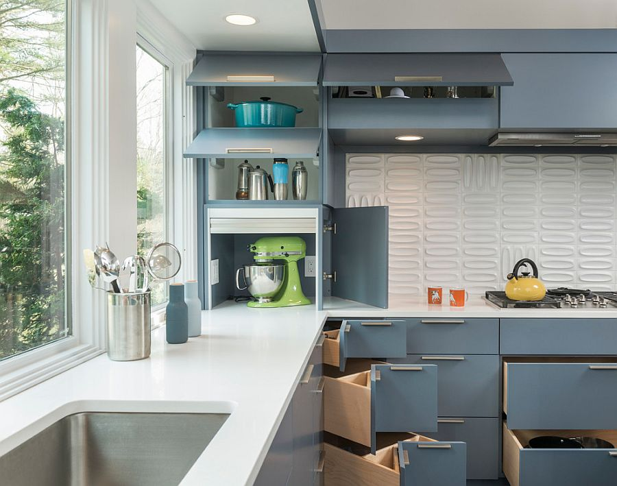 Fabulous use of corner space in the kitchen with the help of shelves and drawers