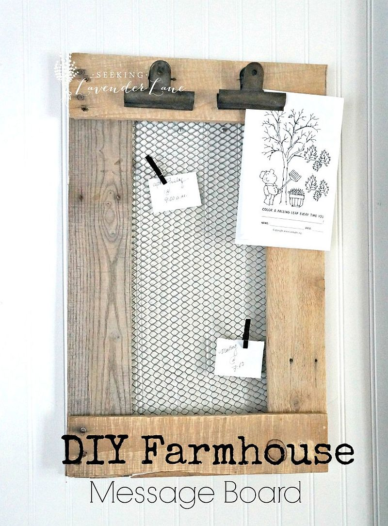 Farmhouse style DIY message board idea