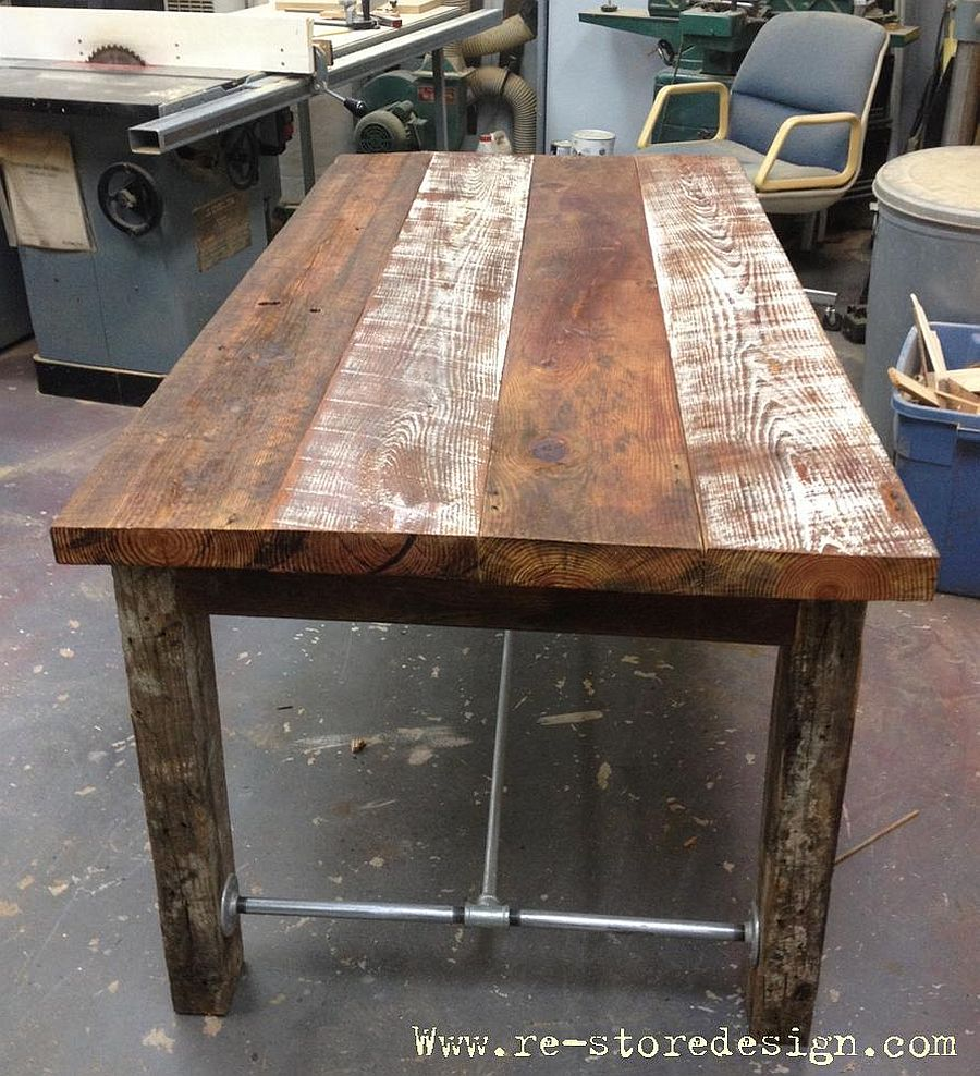 Farmhouse style table crafted from reclaimed wood