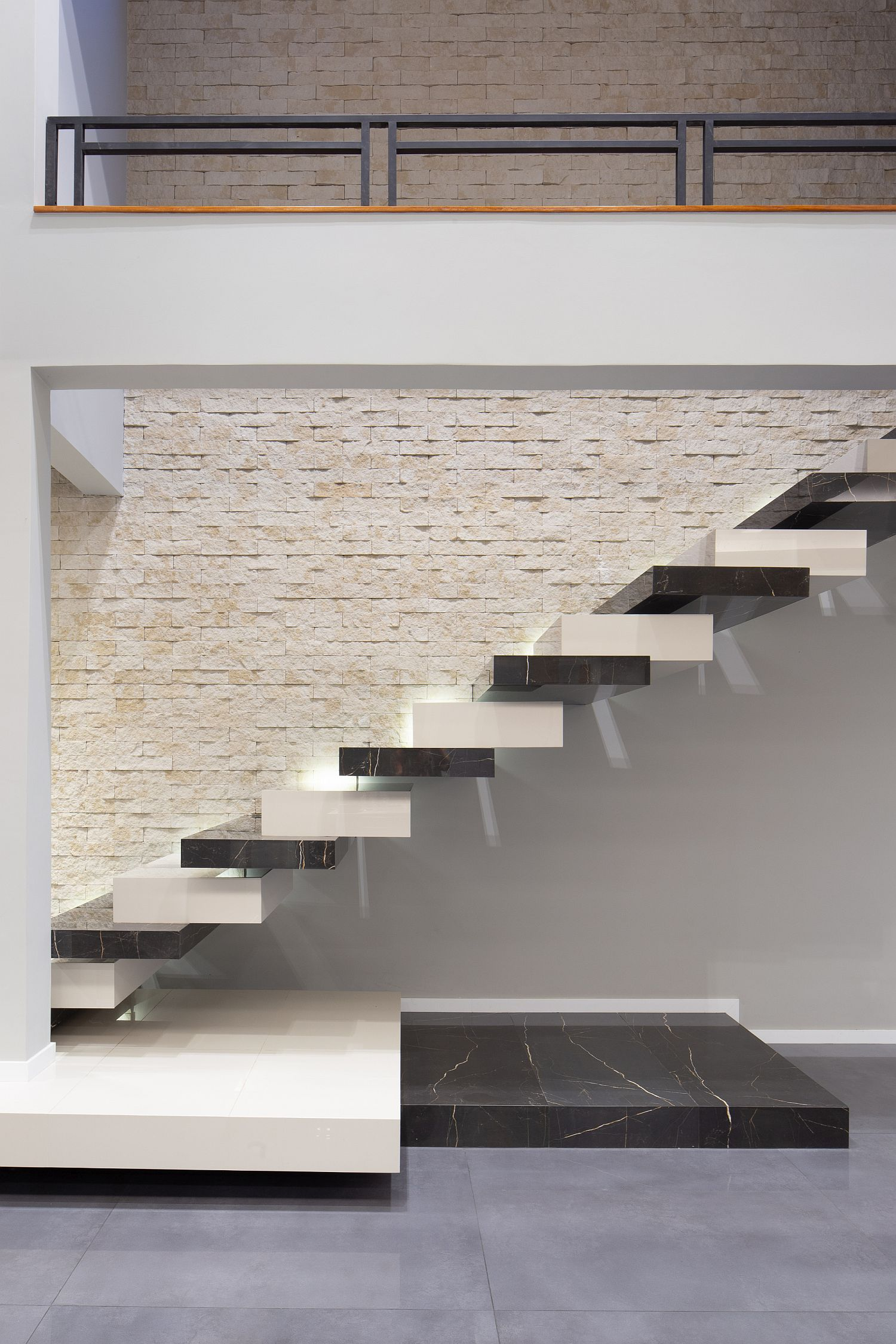 Floating staircase inside the house steals the spotlight