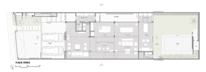 Floor plan of lower level of Guaratinguetá House
