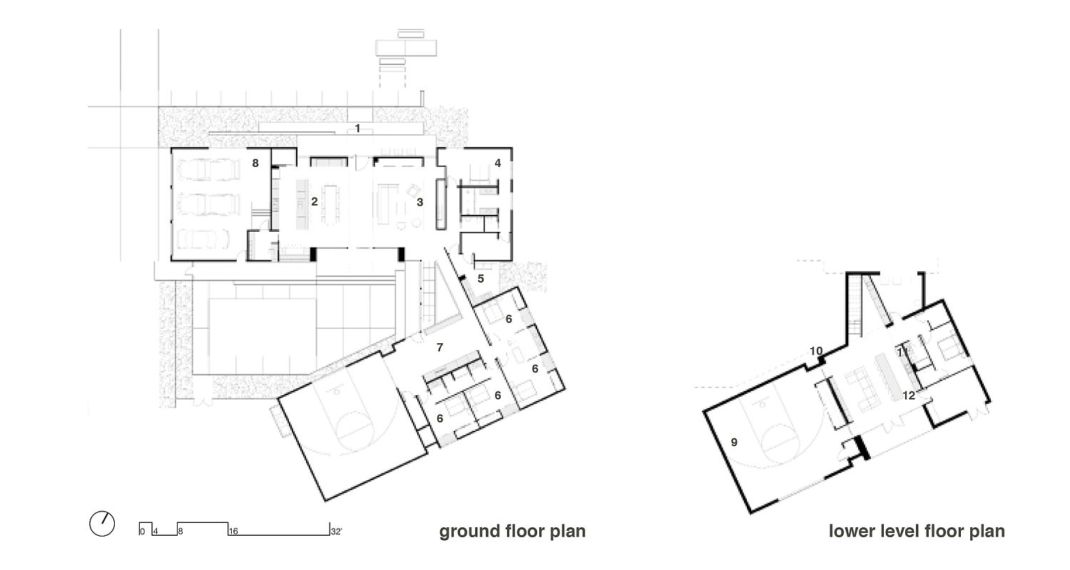 Floor plan of the ground and lower level of the Black and Tan House