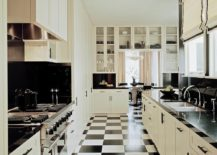 Floor-tiles-add-to-the-black-and-white-color-scheme-of-the-kitchen-217x155