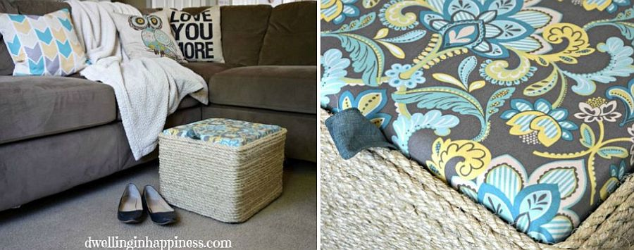 Fun Sisal Rope Ottoman made with Milk Crate