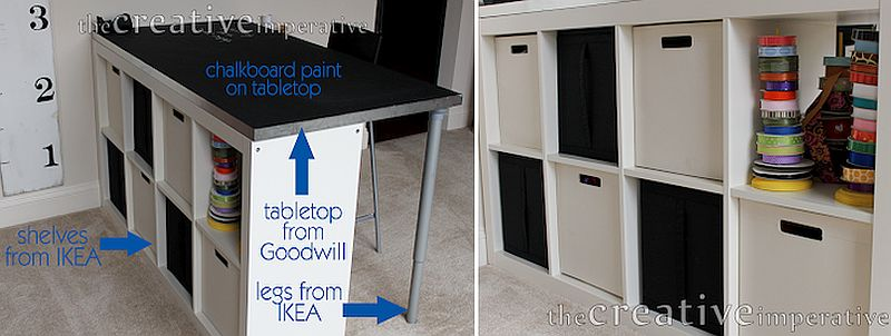 Fun-crafting-table-with-chalkboard-tabletop-and-storage-spaces