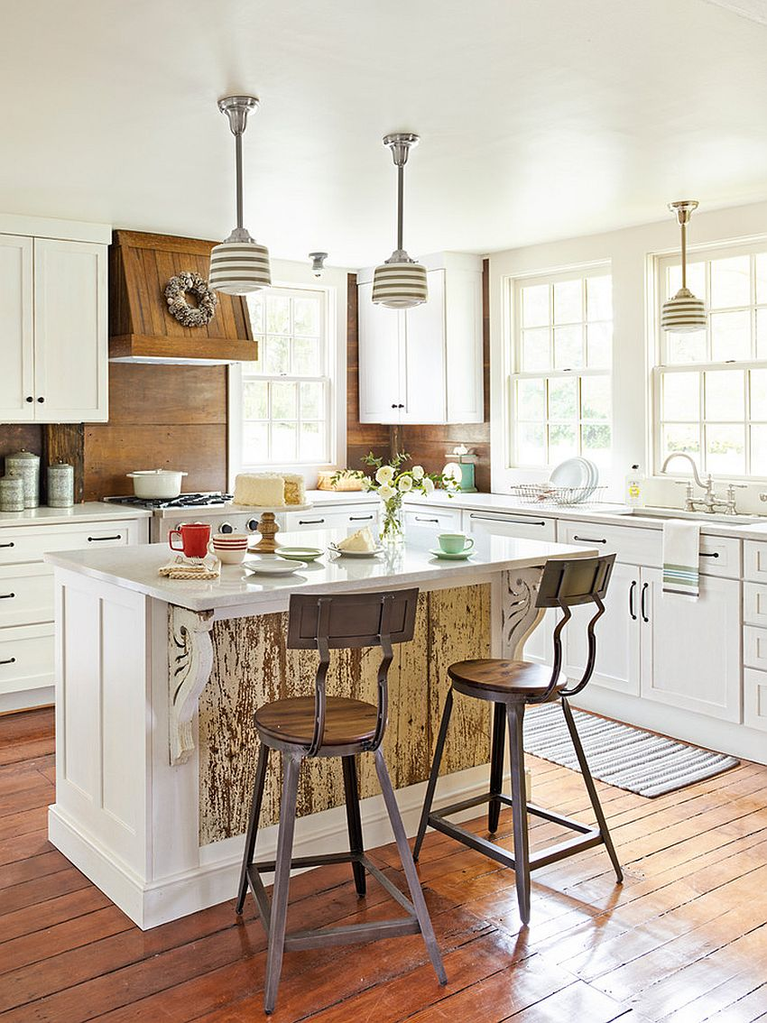 Giving the old kitchen a new lease of life with wood and white color scheme