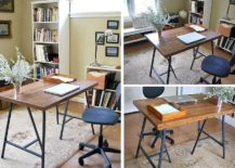 Gorgeous-DIY-craft-table-with-reclaimed-wood-top-and-trestle-legs-217x155