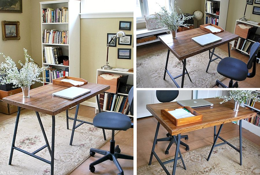 Gorgeous DIY craft table with reclaimed wood top and trestle legs