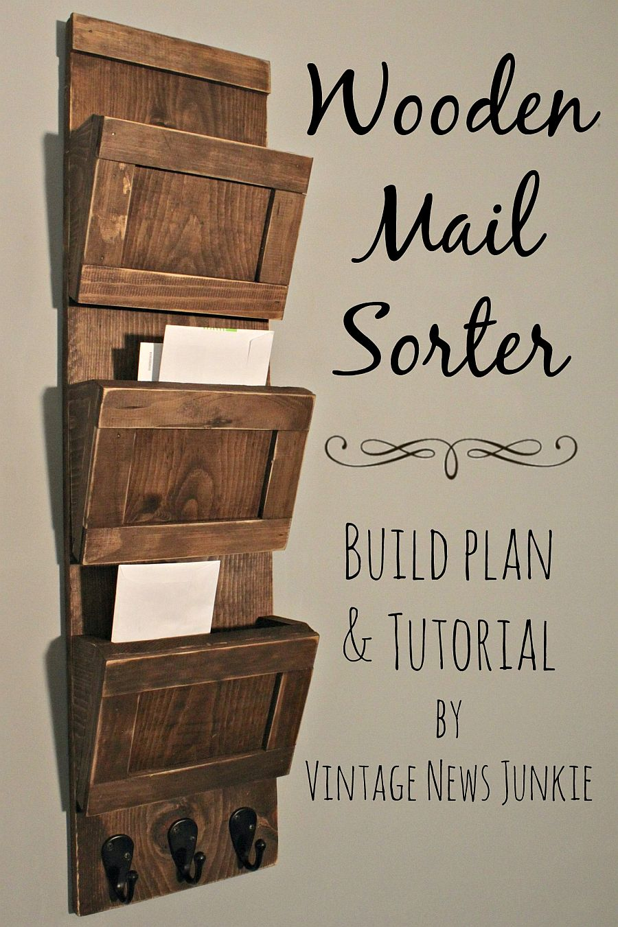Gorgeous and simple DIY wooden mail sorter made from reclaimed wood