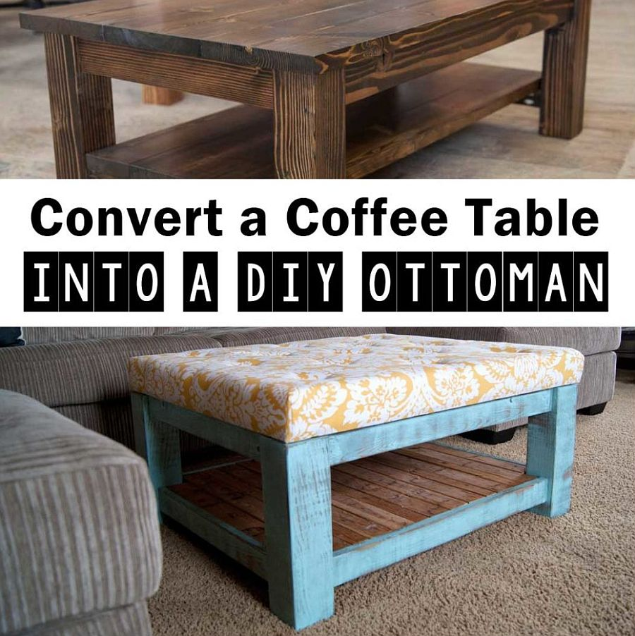 Gorgeous idea turns old coffee table into a lovely ottoman that works everywhere!