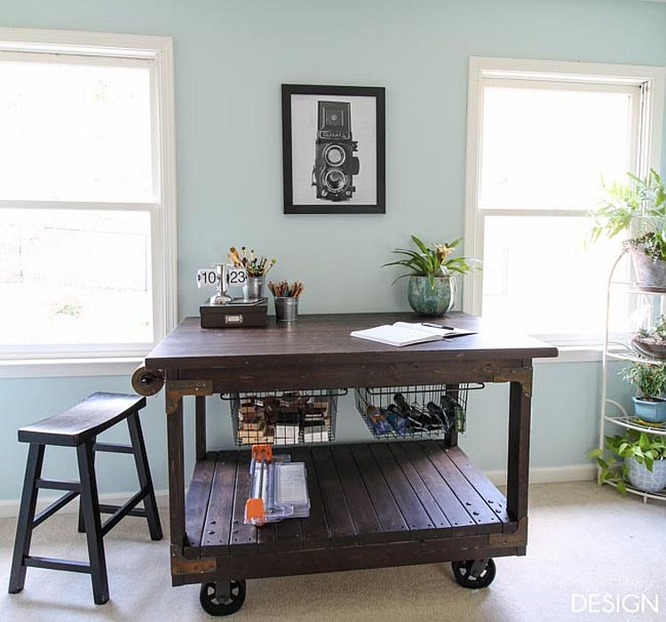 Industrial style crafting table made at home