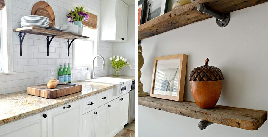 Industrial-style shelves made from reclaimed barn wood