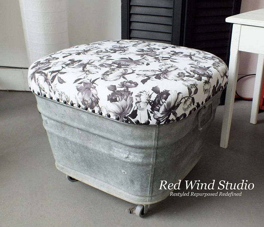 Innovative vintage wash tub ottoman is one-of-a-kind