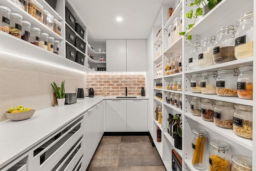 Jars, baskets and open shelves offer ample storage and display space