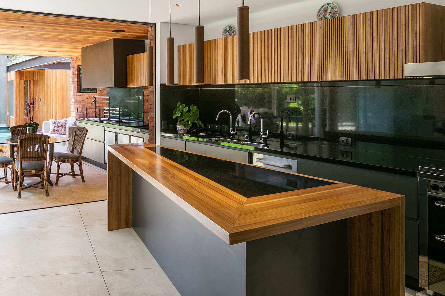 Kitchen here feels as much as an outdoor addition as it does as a part of the interior!