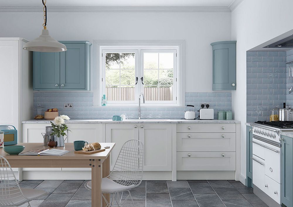 Light blue and white kitchen with an understated modern style