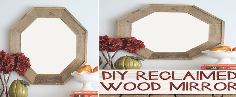 Lovely DIY reclaimed wood mirror with octagon frame