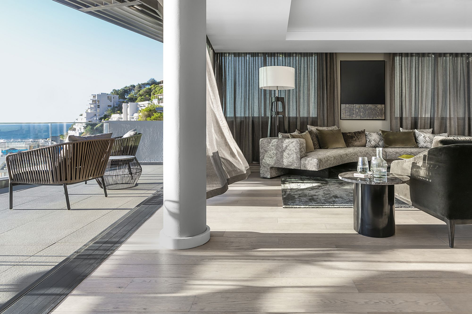 Luxurious living area of the Clifton 301 apartment