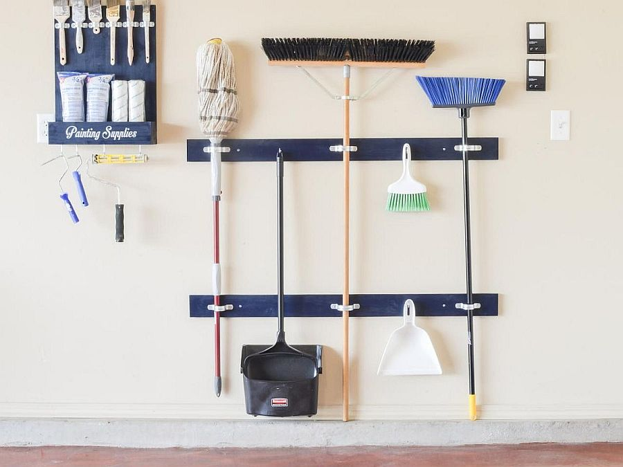 Make your own cleaning tools holder for the garage