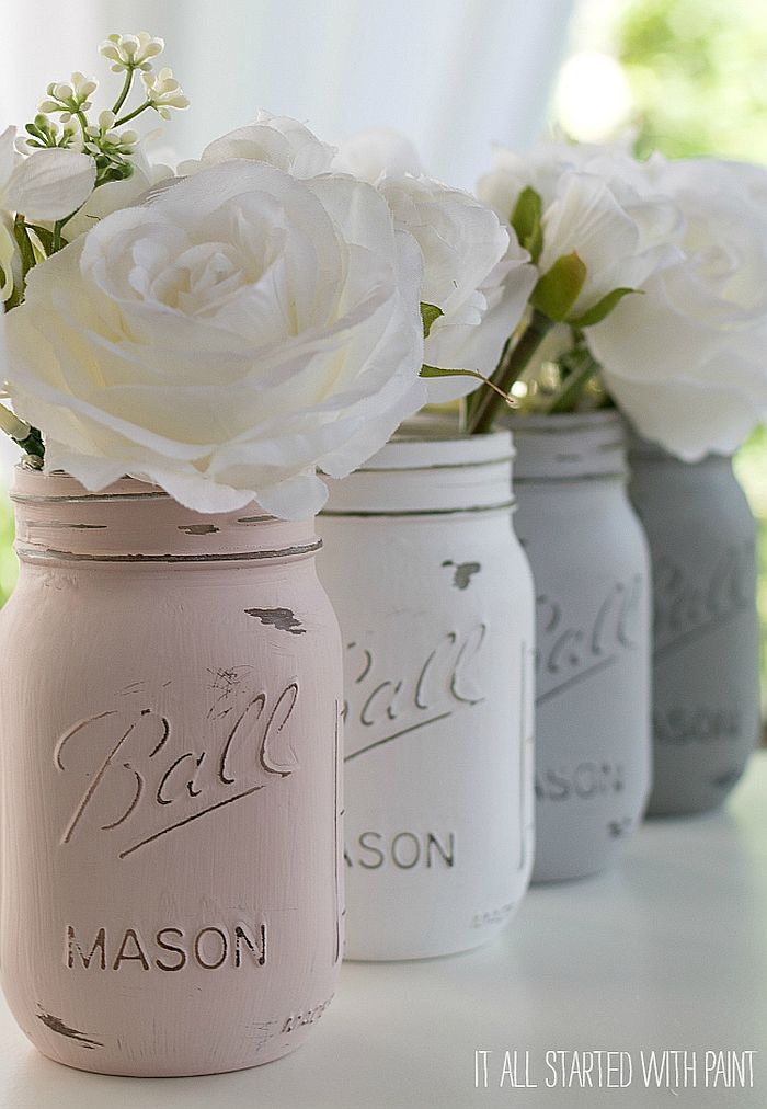 Mason jars painted in white are a hit every season!
