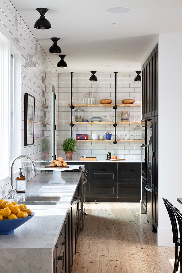Metal pipe and wood floating shelves for the tiny kitchen