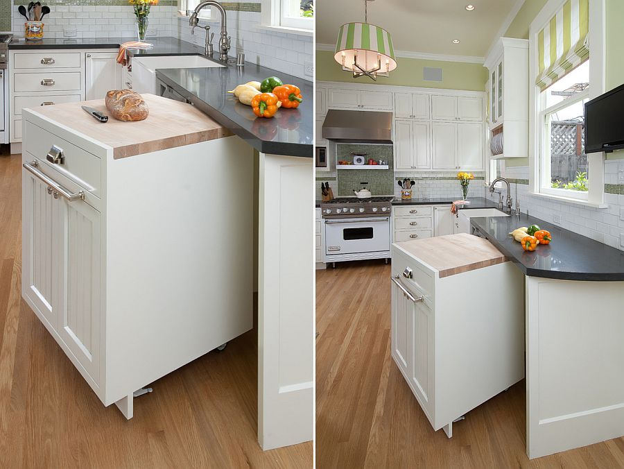 Mobile kitchen island that can be tucked away when not in use