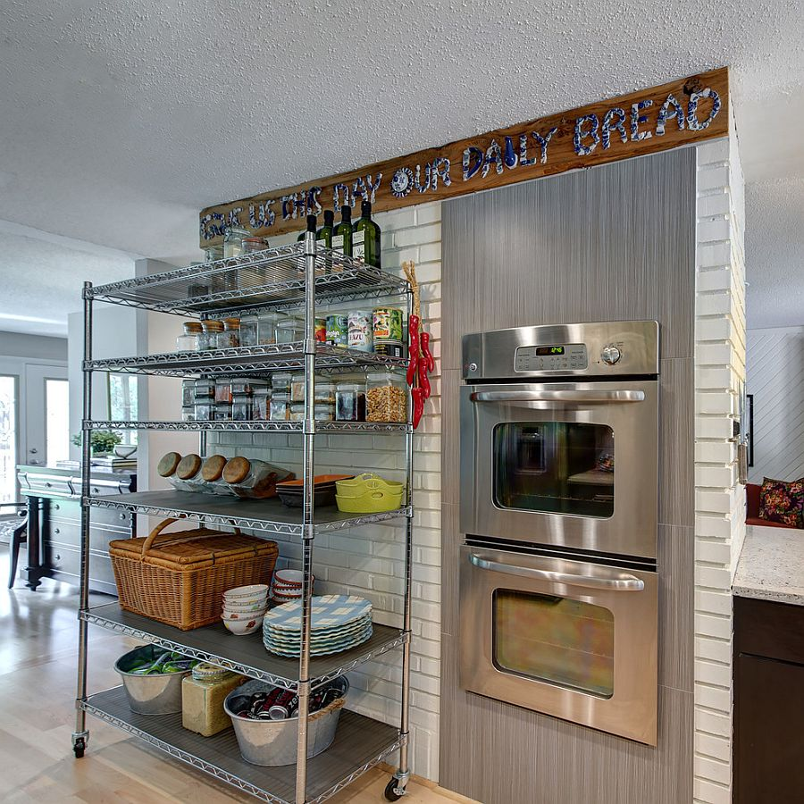 Multi-level kitchen cart on wheels offers flexible storage