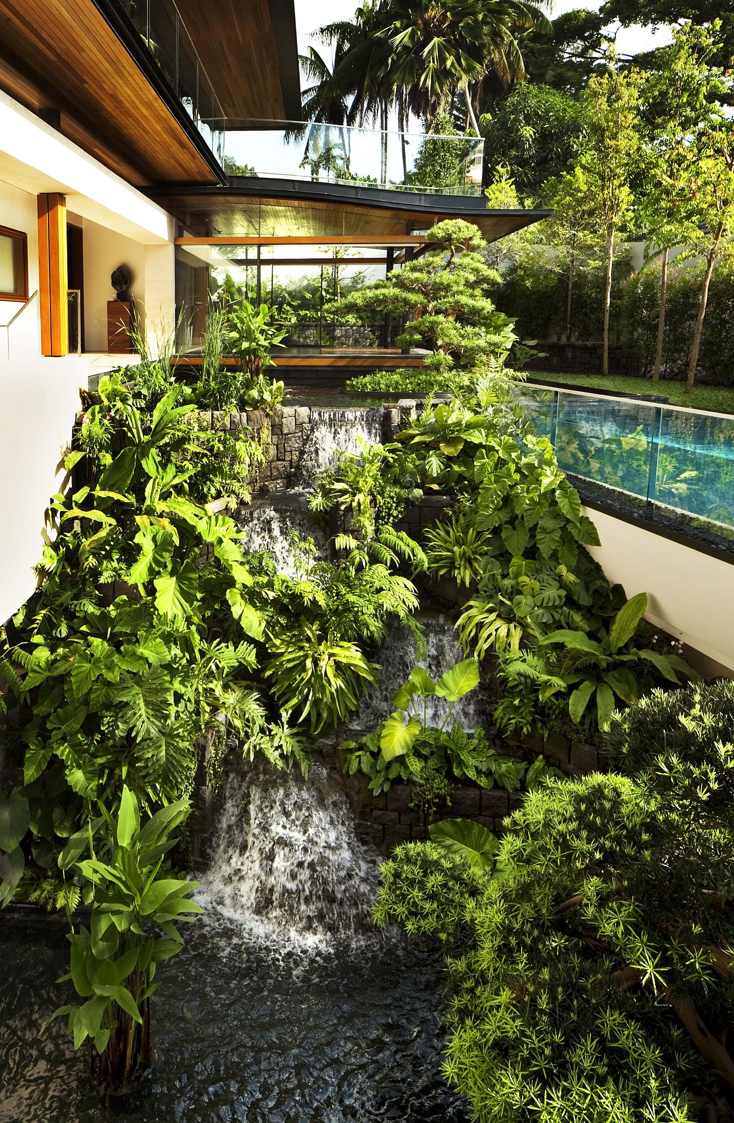 Natural waterfalls and pool area around the house