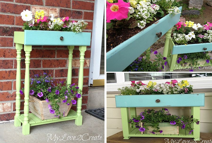 Old drawers turned into gorgeous box planter with ease
