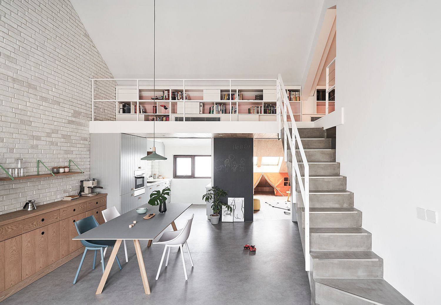 Open plan living area on the lower level of the Beijing apartment