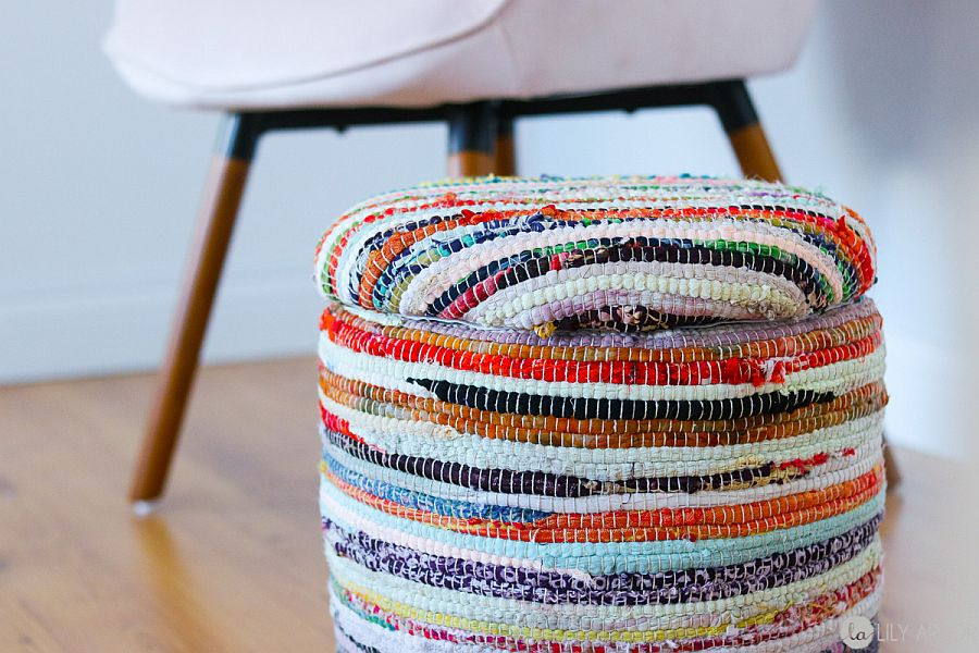 Ottoman made from a bucket can also be used as a footstool