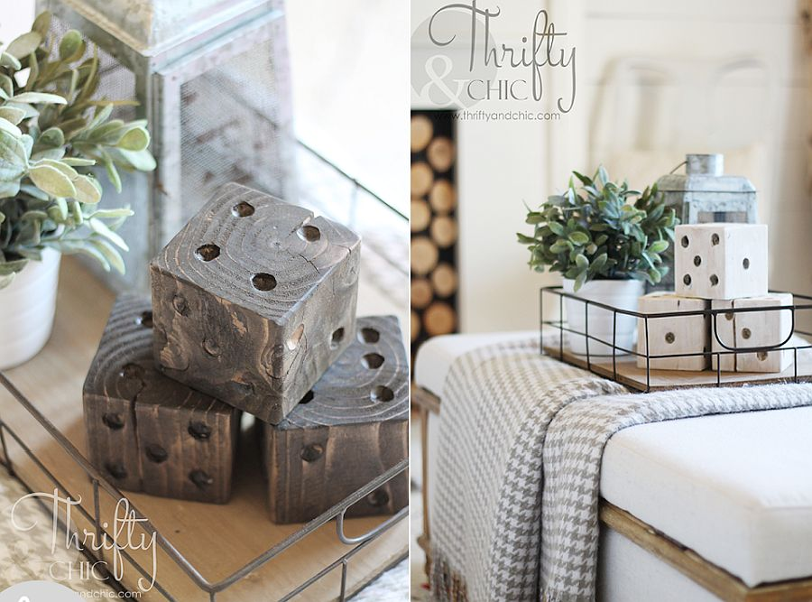 Oversized DIY wooden dices are a great decorative piece