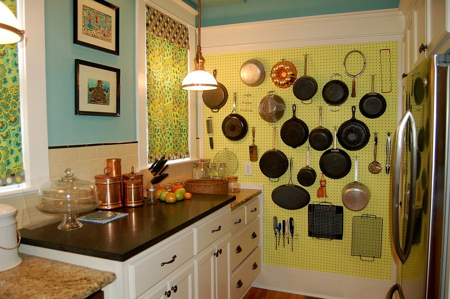 Pegboard used to hang pots and pans in the kitchen