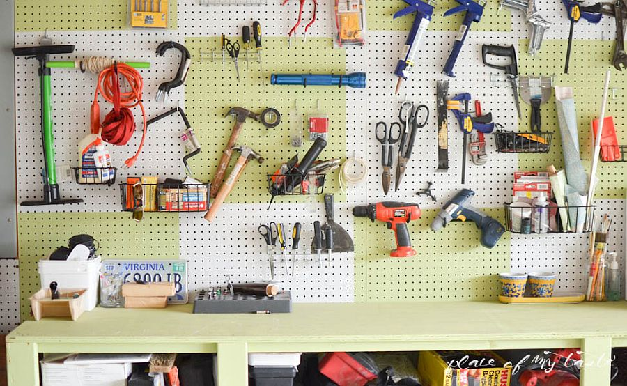 Pegboard wall is the perfect way to organize the garage with ease and quickly