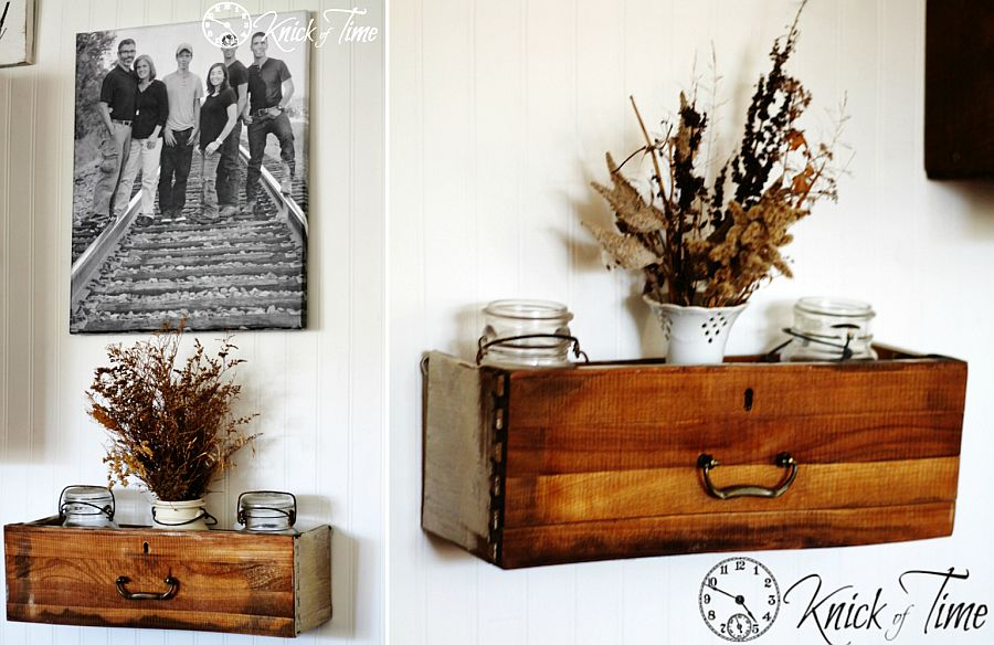 Repurposed wooden drawers turned into cool wall-mounted shelves