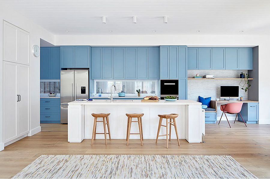 Right balance between white and blue in the kitchen