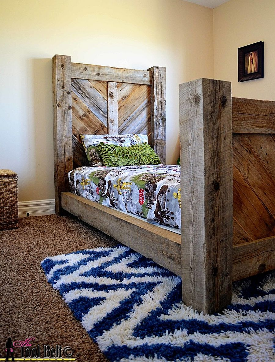 Rustic barnwood twin bed with chevron pattern headboard