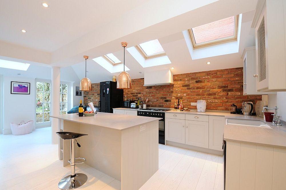 Scandinavian style kitchen with skylights and brick backsplash