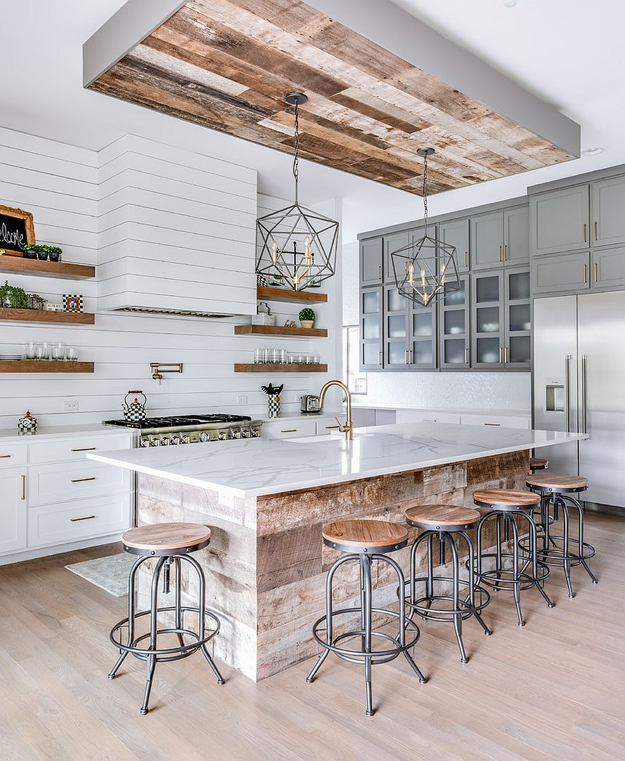 Series of floating shelves, closed cabinets and more make most of the wall space in this kitchen