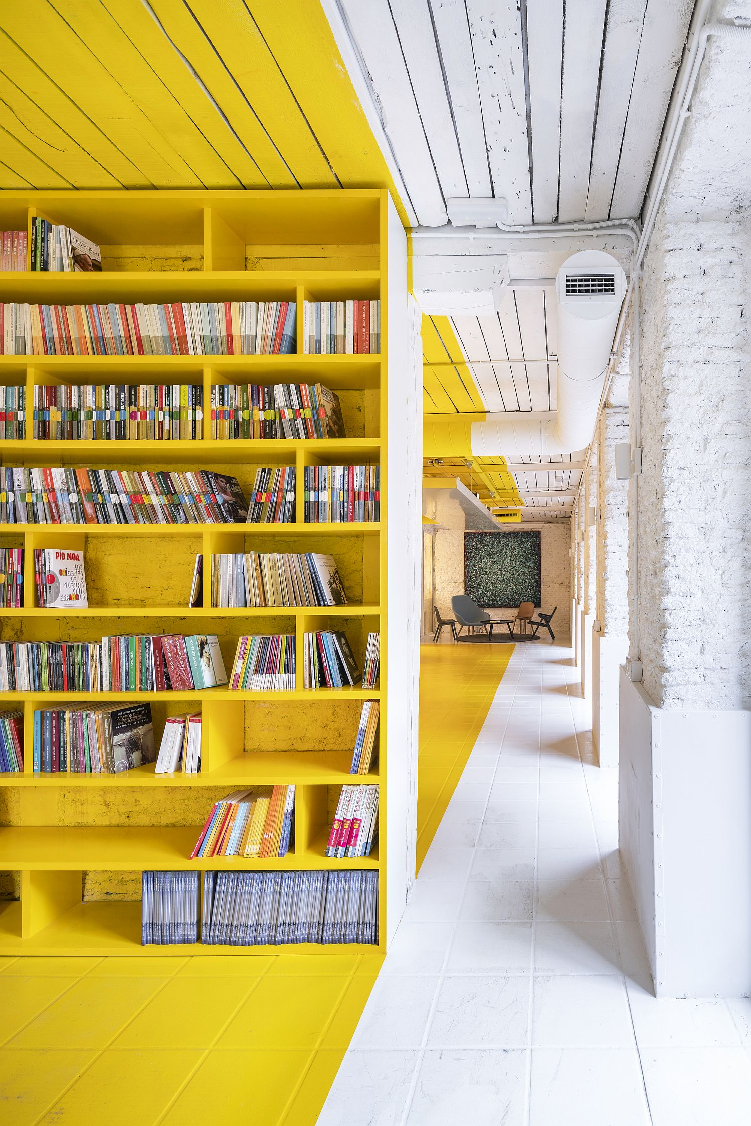 Shelf space inside the office combines color with creativity