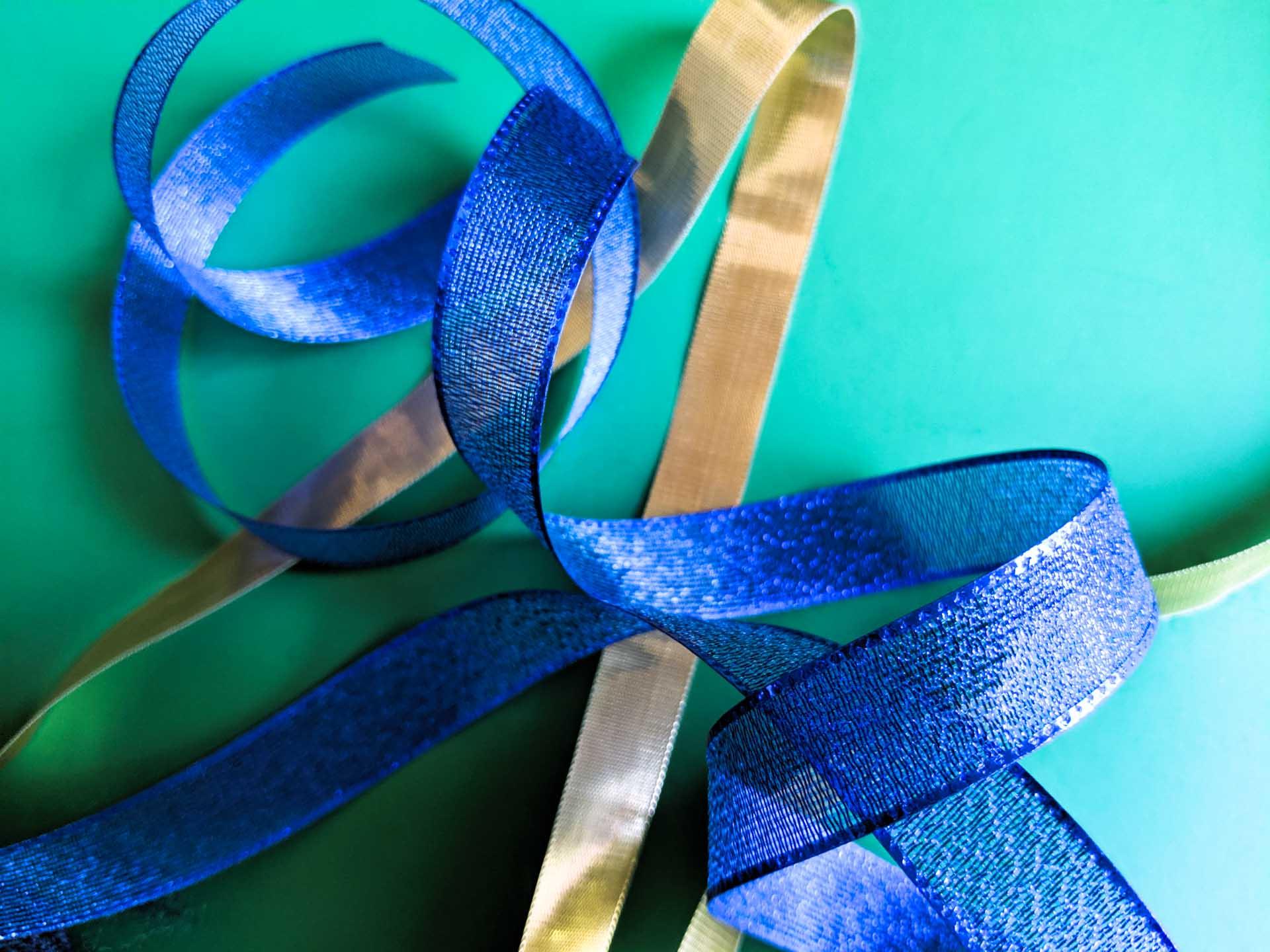 Shiny blue and gold ribbon