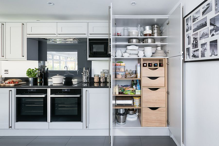 Single-wall kitchen with multiple storage and shelf options