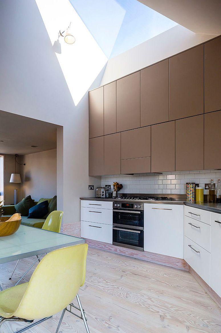 Skylight and double-height kitchen give this interior a spacious vibe